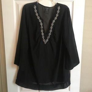 Long sleeve black swimsuit cover up